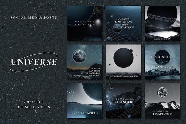 Estetyczny szablon inspirujący galaktykę psd z cytatem z kolekcji postów w mediach społecznościowych