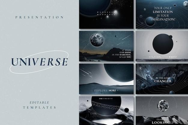 Estetyczny szablon inspirujący galaktykę psd z zestawem banerów blogowych z cytatami