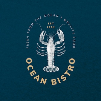 Estetyczny szablon odznaki psd do zestawu restauracyjnego, zremiksowany z dzieł z domeny publicznej