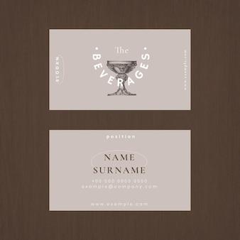 Estetyczny szablon wizytówki psd dla restauracji, zremiksowany z dzieł z domeny publicznej