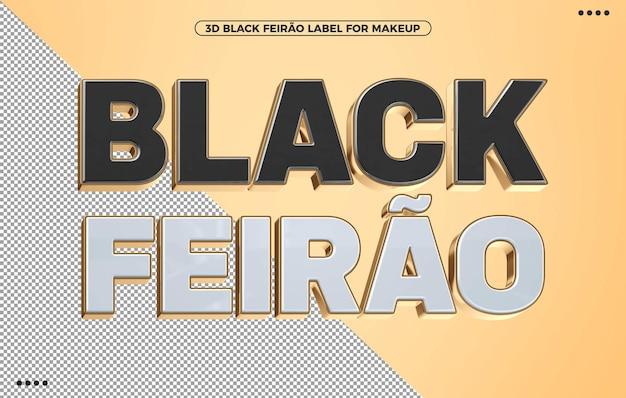 Etykieta 3d czarna czerń ze złotem dla kompozycji w brazylii