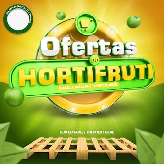 Etykieta 3d mediów społecznościowych po lewej stronie oferuje kompozycję dla supermarketu w ogólnej kampanii brazylijskiej