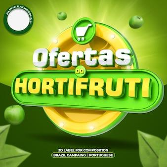 Etykieta 3d w mediach społecznościowych oferuje kompozycję dla supermarketu w ogólnej kampanii w brazylii