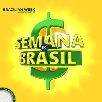 Etykieta brazylijskiego tygodnia renderowania 3d dla kampanii marketingowej