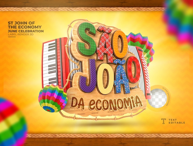 Etykieta gospodarki sao joao renderowania 3d festa junina brazil realistyczny balon na akordeon
