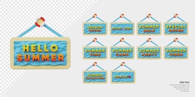 Etykieta letniego festiwalu z odznaką 3d z kolekcją fal oceanicznych i piasku