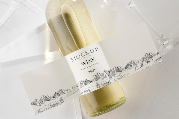 Etykieta na butelkę wina makieta na płasko