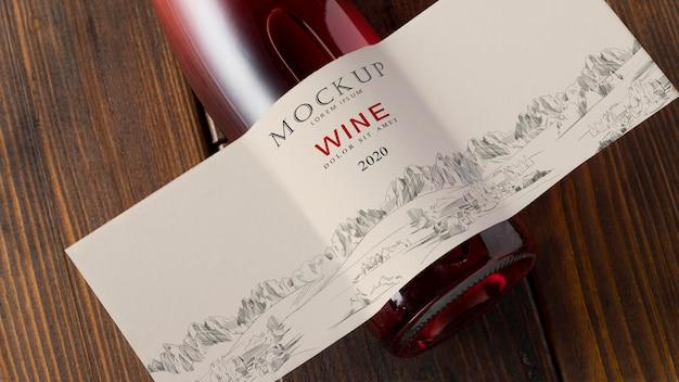 Etykieta na butelkę wina makieta widok z góry