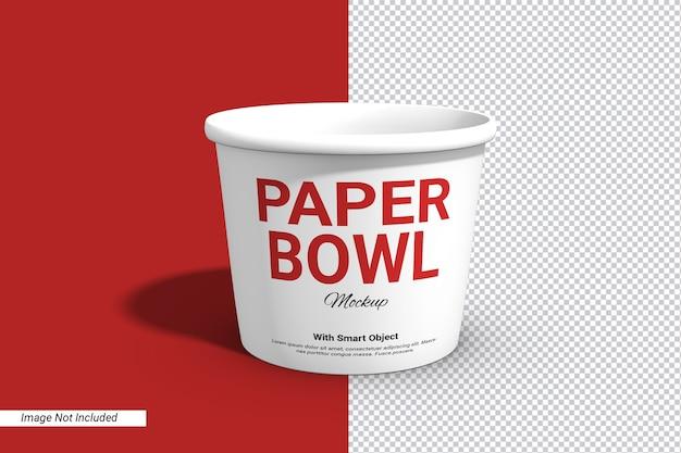 Etykieta papierowa miska kubek makieta na białym tle