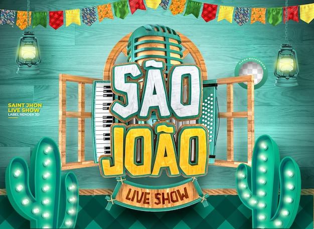 Etykieta sao joao 3d render festa junina no brazil realistyczna