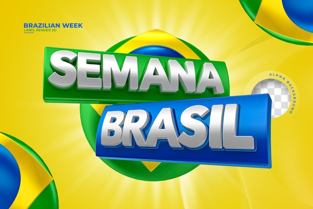 Etykieta tydzień brazylijski renderowania 3d dla projektu szablonu kampanii marketingowej w języku portugalskim
