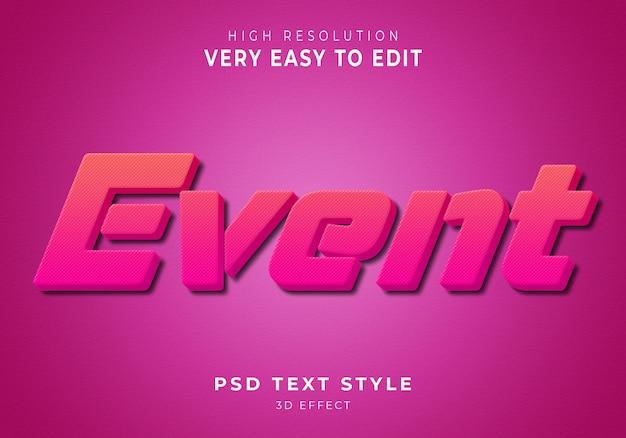 Event nowoczesny efekt tekstowy 3d