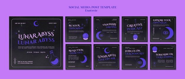 Ezoteryczny szablon postu w mediach społecznościowych