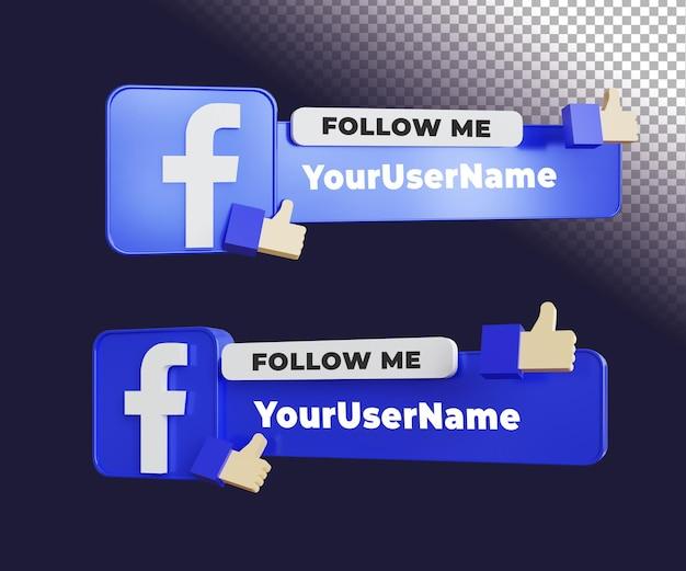 Facebook 3d śledź mnie etykieta z szablonem tekstowym
