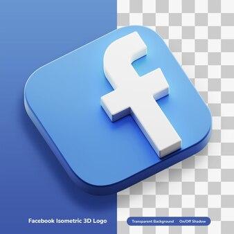 Facebook aplikacje izometryczny 3d ikona koncepcja logo w okrągłym rogu kwadratowych aktywów na białym tle