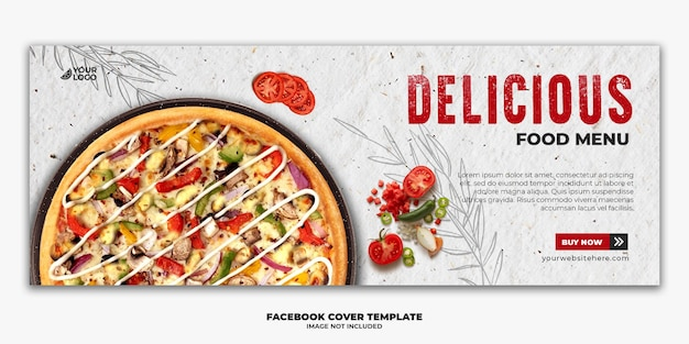 Facebook cover post banner szablon dla restauracji fastfood menu pizza