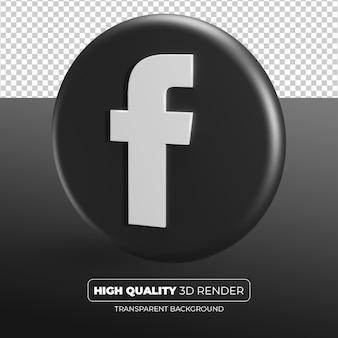 Facebook czarna ikona renderowania 3d na białym tle