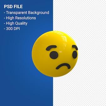 Facebook emoji 3d reakcje smutne na białym tle
