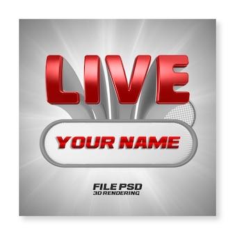 Facebook live streaming 3d render czerwona odznaka na białym tle