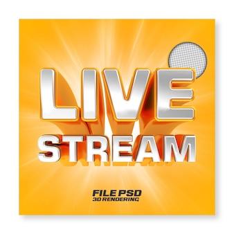 Facebook live streaming 3d render złota odznaka na białym tle