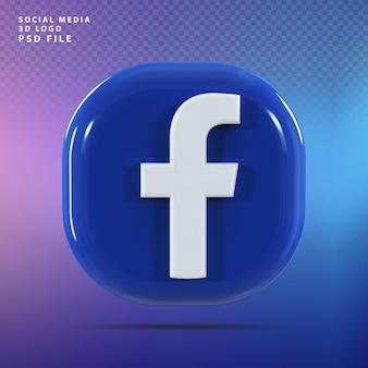 Facebook logo 3d render luksus