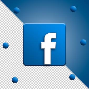 Facebook logo renderowania 3d na białym tle