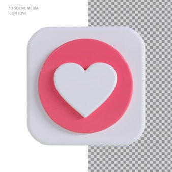 Facebook miłość z koncepcją renderowania 3d w stylu