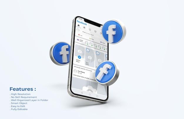 Facebook na makiecie telefonu komórkowego z ikonami 3d