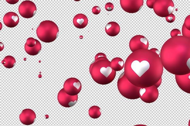 Facebook reakcje emoji serca renderowania 3d na przezroczystym tle, symbol balon mediów społecznościowych z sercem