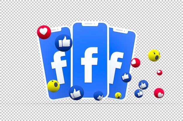 Facebook symbol na ekranie smartfona lub telefonu komórkowego i reakcji na facebooku miłość, wow, jak emoji renderowania 3d