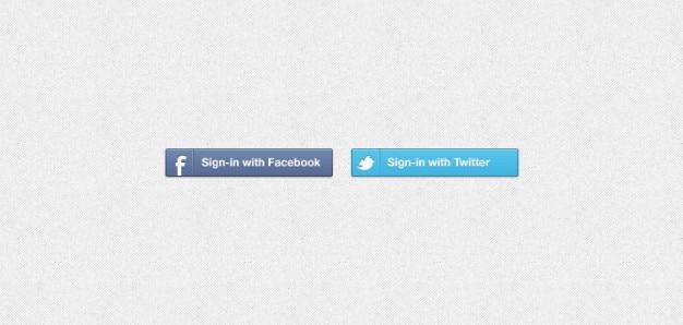Facebook &; twitter znak w przyciski psd