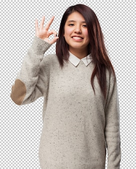 Fajna chińska kobieta w porządku znak