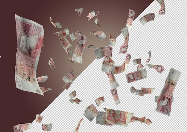 Falling founds. deszcz z funtowych banknotów