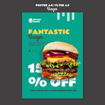 Fantastyczny szablon wydruku plakatu burgera