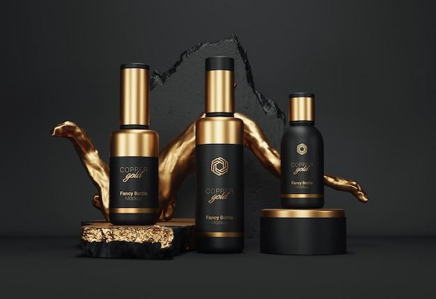 Fantazyjne opakowanie na butelki kosmetyczne mockup gold version