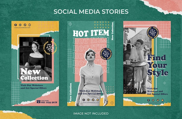 Fashion sale retro vintage instagram stories social media template