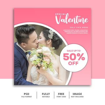 Fashion valentine banner social media post instagram pink couple