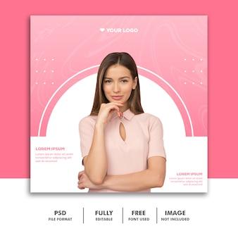 Fashion valentine banner social media post instagram pink luxury