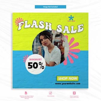 Fasion flash sale social media szablon post feed banner