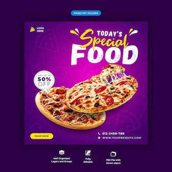 Fast food menu społecznościowe szablon post instagram post