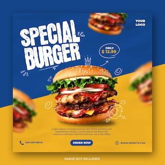 Fast foody w mediach społecznościowych lub szablon banera