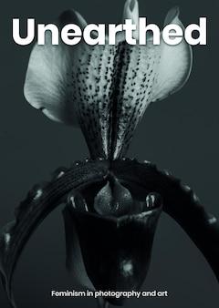 Feministyczny plakat szablon psd z kwiatem