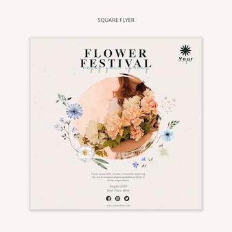 Festiwal kwiatów koncepcja szablon kwadratowych ulotki