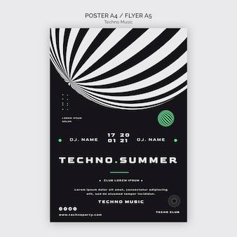 Festiwal muzyki techno w letnim plakacie szablon