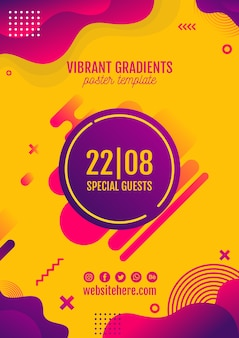 Festiwal muzyki żółty plakat szablon