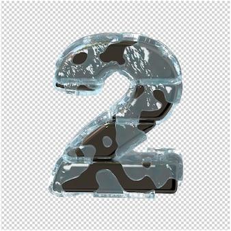 Figurka wykonana z metalu w lodzie. 3d numer 2
