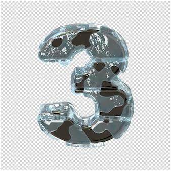 Figurka wykonana z metalu w lodzie. 3d numer 3