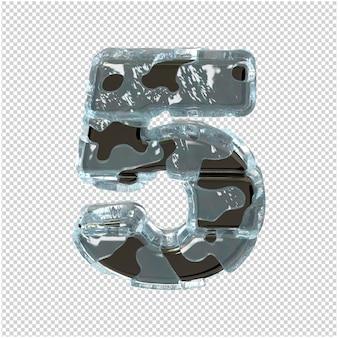 Figurka wykonana z metalu w lodzie. 3d numer 5