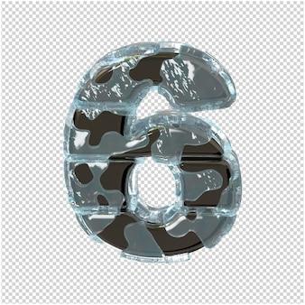 Figurka wykonana z metalu w lodzie. 3d numer 6