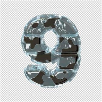 Figurka wykonana z metalu w lodzie. 3d numer 9